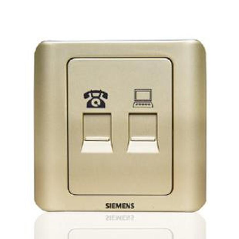 西门子 电脑电话插座 远景系列 金棕