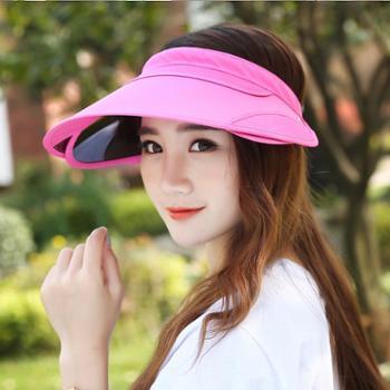 安柘娜 夏天户外防晒遮阳帽骑车空顶大沿帽 防紫外线太阳帽子女 可伸缩凉帽 732231