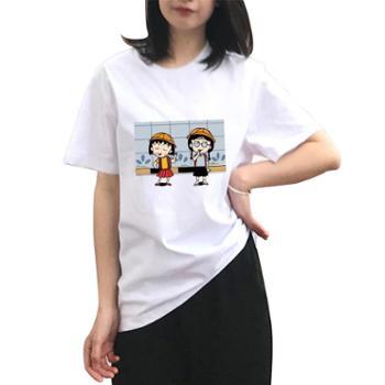 安柘娜 百搭卡通小丸子三只小猪动漫二次元纯棉T恤