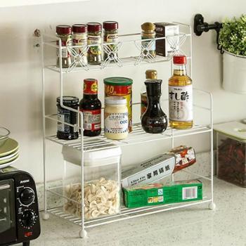 欧润哲厨房浴室三层置物架调味架调料瓶收纳架简约家居铁艺整理架