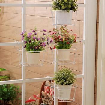 欧润哲5只装铁艺花盘挂篮白色阳台栏杆扶手花盘架子侧挂花盘架