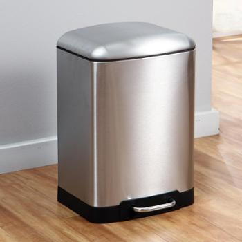 欧润哲12升不锈钢正方鼓形静音垃圾桶家用金属砂光脚踏废纸桶
