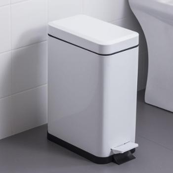 欧润哲长方形10升静音版白色垃圾桶家用铁皮喷漆脚踏垃圾箱
