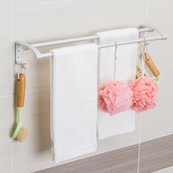 欧润哲太空铝浴室免钉双杆毛巾架卫浴收纳衣物架