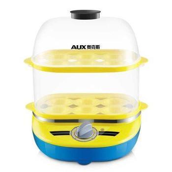 奥克斯煮蛋器自动断电多功能早餐机 双层迷你不锈钢煮蛋机蒸蛋器