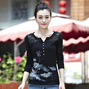 秋装新款上衣女装长袖T恤韩版拼接纯棉女式t恤女
