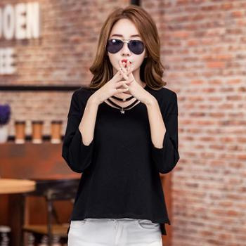 2017秋季新款女式长袖t恤圆领韩版女士打底衫