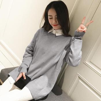 韩版时尚女装2017秋季新款纯色宽松显瘦毛衣学生长袖针织衫H2216
