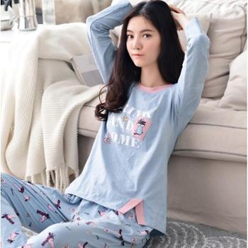 韩版纯棉睡衣女春秋季长袖套装薄款套头可外穿全棉卡通可爱家居服