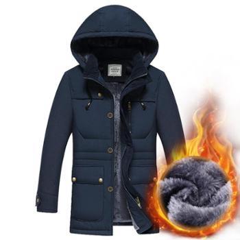 冬季男式中长款棉服青年棉衣男士宽松大码加绒厚款棉衣外套保暖棉服