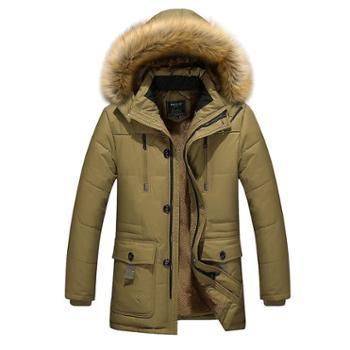 男式连帽棉服风衣保暖外套 中长款加绒加厚保暖棉服