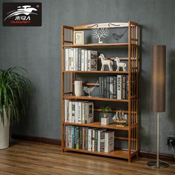 木马人简易书架置物架实木多层落地宿舍儿童书架学生书柜储物架
