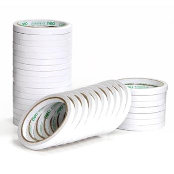 得力胶带棉纸双面胶带双面粘胶0.9CM宽两面胶带文具十个装30400