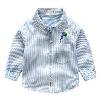 秋款韩版精品童装男童儿童全棉条纹刺绣汽球长袖衬衫宝宝衬衣