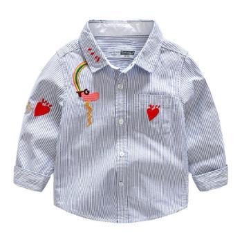 秋季新款童装男童儿童纯色条纹长袖衬衫宝宝百搭纯棉上衣