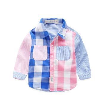 新款童装男童棉上衣韩版春秋装儿童衬衫男宝宝衬衣格子潮