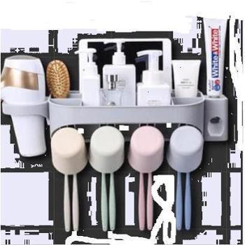 (日常居家生活用品)吸壁式牙刷置物架杯壁挂式牙刷杯架卫生间漱口杯套装免打孔多人多杯设计