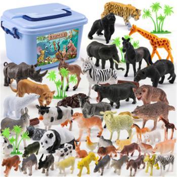 儿童仿真森林动物园模型老虎熊猫绵羊动物塑胶马男孩动物玩具摆件