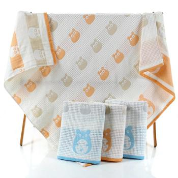 美浴生活定制儿童 1.05x1.05米 全棉纱布毛巾被子母纱 卡通龙猫系列睡单