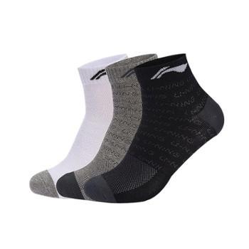 李宁运动袜3双装黑白灰男女士袜子厚实吸汗中筒袜