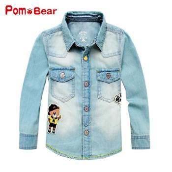 波姆熊童装男童衬衫长袖春秋新款韩版牛仔衣儿童衬衫休闲衬衣潮