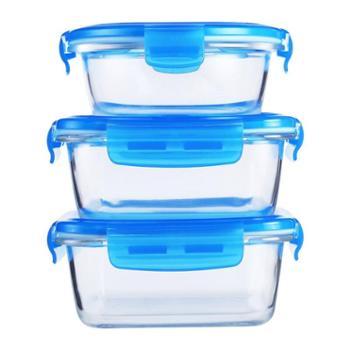 乐美雅钢化纯净玻璃保鲜盒随心装3件套(760ml*2+420ml*1)