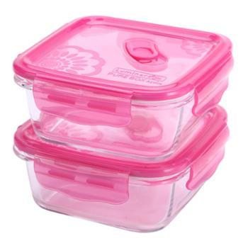 乐美雅梦幻大丽花纯净玻璃保鲜盒760ml正方形2件套