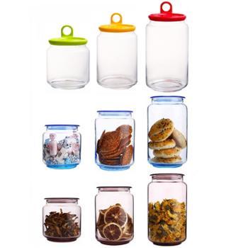乐美雅储物罐无铅玻璃密封罐9件套