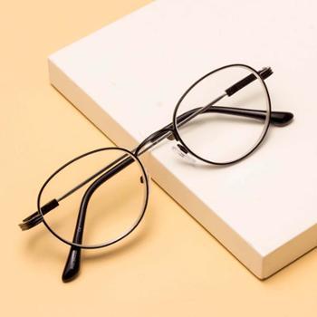 恋上老花镜男时尚舒适抗疲劳圆框女记忆金属老光眼镜黑色