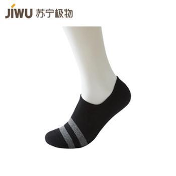 【苏宁极物】男士抗菌条纹浅口船袜5双装 黑色、黑花灰、浅咖、牛仔蓝、浅灰