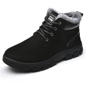 OSCO男士秋冬季高帮系带男鞋舒适加绒保暖雪地靴男舒适新款鞋子男 棉鞋
