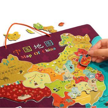 特宝儿儿童磁性世界中国地图拼图木质4-6岁男孩益智玩具幼儿早教 120448