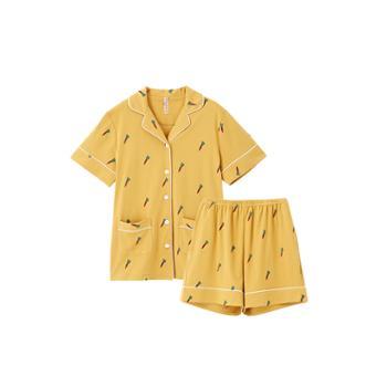 女式夏季纯棉胡萝卜印花短袖家居服套装