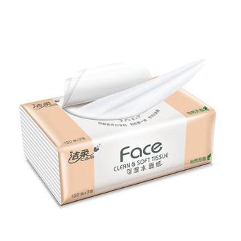 洁柔(C&S)粉Face抽纸可湿水面巾纸擦手纸餐巾纸3层120抽(M号 面子系列柔韧细滑 婴儿纸巾干湿两用)