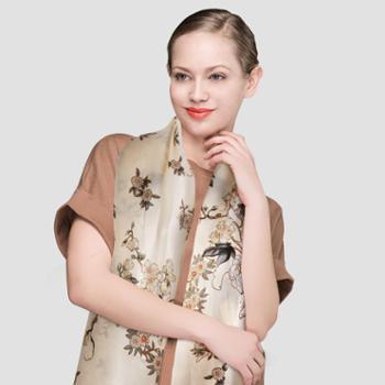 凯诗风尚绮丽系列牡丹鸢尾真丝围巾桑蚕丝长款纱巾两用披肩礼盒装