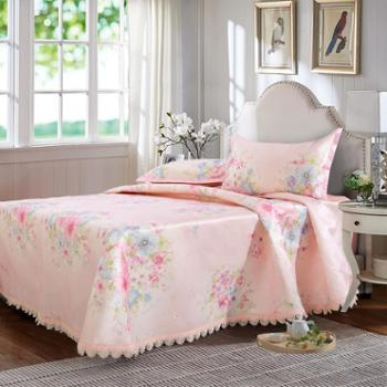 凯诗风尚凉席玲珑花语清凉冰丝席三件套床单款250*250cm
