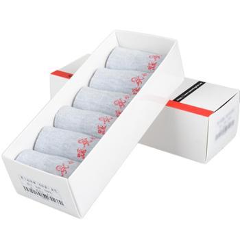 本命年6双盒装女士踩小人运动袜子棉短袜船袜低筒 多彩包邮