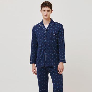 三枪男睡衣套装81371家居服男士起居服翻领纯棉冬季休闲长袖睡衣