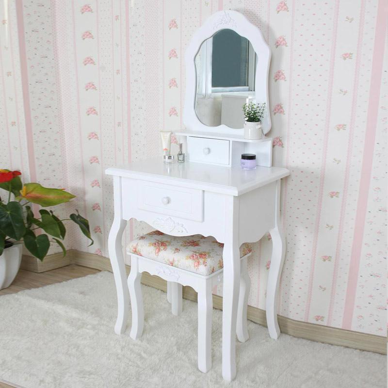 心情生活 田园风小号梳妆台 欧式化妆桌 韩式妆台 现代时尚简约 白色