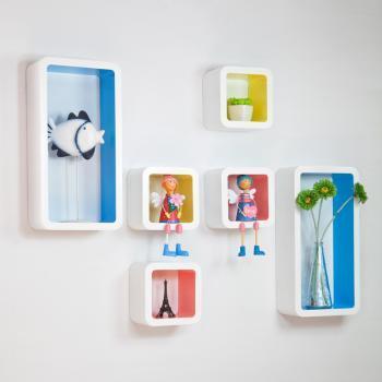 自由色彩 创意格子 电视背景墙装饰架 烤漆隔板/壁柜 置物架