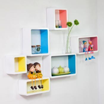 自由色彩创意格子隔板电视背景墙装饰架墙上置物架壁柜