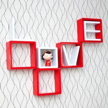 自由色彩烤漆LOVE创意格子壁挂架置物架电视背景墙装饰