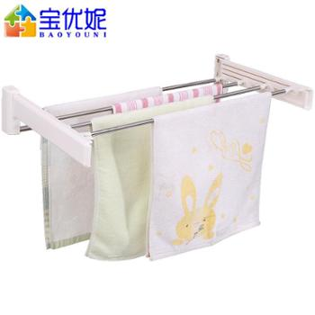 宝优妮浴室毛巾架洗手间收纳挂毛巾架卫生间不锈钢打孔旋转抹布架DQ0802