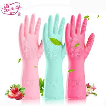 双一清香滋润型单层乳胶家用手套 4双 L号颜色随机发货