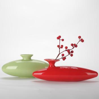 长城瓷艺陶瓷花瓶花插红色绿色一对