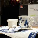 长城瓷艺 栖息烟霞 栖鹭杯带盖带碟带茶漏套装 陶瓷商务办公杯