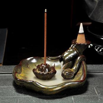 銮瓷新款香炉熏香炉创意家居摆件精品香道含苞待放倒流香炉