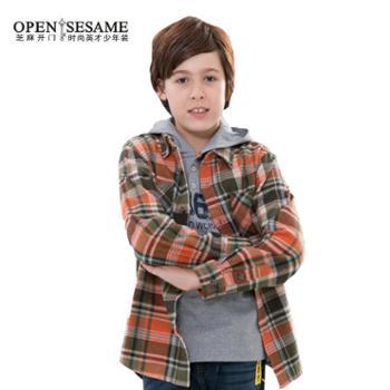 【芝麻开门】 少年装中大童男孩款都市休闲长袖衬衫两件套