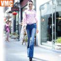 VMC秋装新款女装女裤修身显瘦提臀时尚爆潮小喇叭牛仔裤长裤微