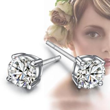 925银四爪耳钉耳钉时尚耳环防过敏男女情侣耳钉